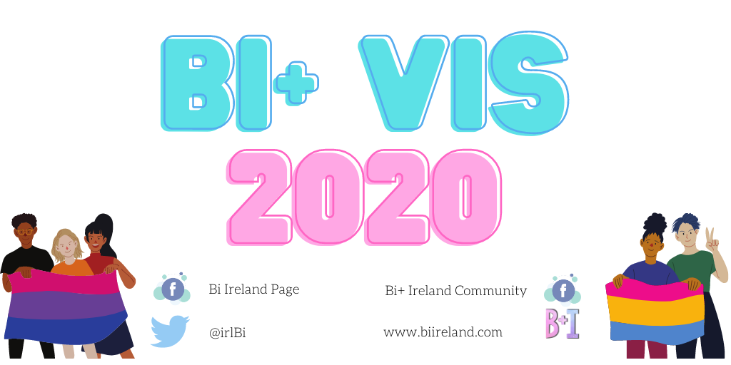 "On the top half is the text ""bi+ vis 2020"" written in blue and pink neon writing. In the bottom left hand corner are three people holding a bi+ flag, that being a flag with pink, purple and blue horizontal stripes. In the bottom right hand corner are two people holding a pan+ flag, that being a flag with pink, yellow and blue horizontal stripes.  In the centre bottom is the the Bi+ Ireland contact details that is: - a Facebook logo beside the words Bi+ Ireland page and Bi+ Ireland community - a Twitter logo beside the words @irlBi - the Bi+ Ireland logo beside the words www.biireland.com"