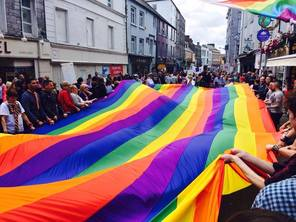 Picture of the pride flag in Galway